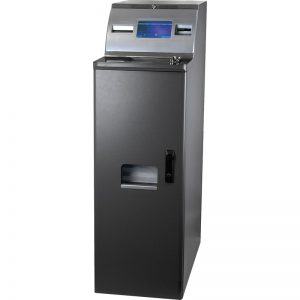 D100 coin deposit machine for bank and retail that allows bulk depositing of coins
